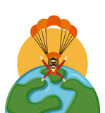 Parachute fly. Design, vector illustration eps10 graphic Stock Images