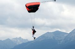 Parachute flying in High Tatras - Slovakia Stock Photos