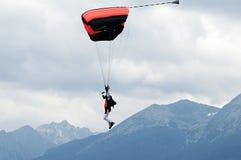Parachute flying in High Tatras - Slovakia. A parachute in the air Stock Photos