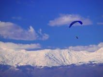 Parachute flying in Macedonia stock photos