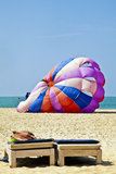 Parachute getting ready for paraglide Stock Photography