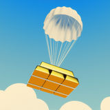 Parachute with golden bricks Stock Photos