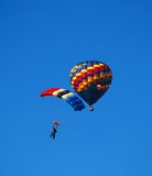 Parachute with Hot Air Balloon Stock Photography