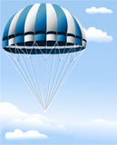 Parachute. Illustration of blue parachute in the blue sky Stock Photos