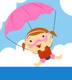 Parachute. Illustration of a ccute little girl and parachute Royalty Free Stock Images
