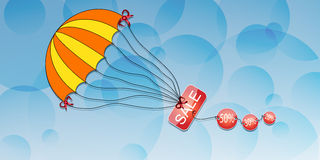 Parachute with the inscription discount on an abstract background.Vector Stock Photos
