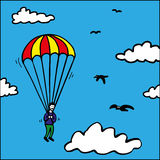Parachute jump Stock Photo