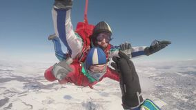 Parachute jump.skydiver in free fall stock video footage