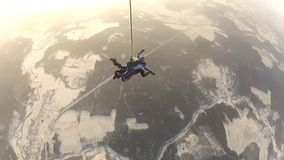Parachute jump.skydiver in free fall stock video
