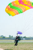 Parachute jump in tandem Stock Image