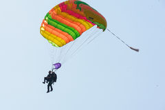 Parachute jump in tandem Royalty Free Stock Image