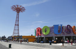 Parachute jump tower and restored B B carousel in Brooklyn royalty free stock photo