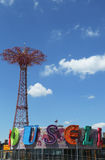 Parachute jump tower and restored historical B&B carousel in Brooklyn Royalty Free Stock Image