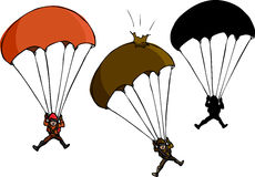 Parachute Jumper. With damaged parachute and silhouette variations Stock Image