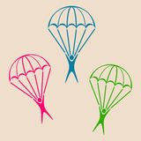 Parachute jumper icon. Colorful parachute jumper icons on retro background Royalty Free Stock Photo