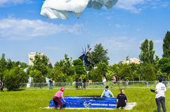 Parachutist jumper landing royalty free stock photography