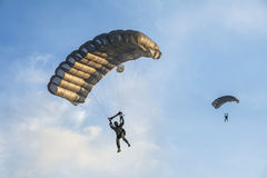 Parachute jumping at Aeromania show Stock Image