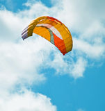 Parachute kite. Flying high on a sunny day Stock Photo