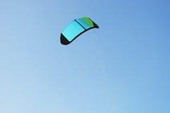 Parachute for kitesurfing against the blue sky. Image of parachute for kitesurfing against the blue sky Stock Photo
