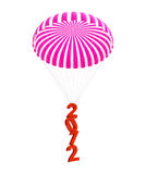 Parachute new year's 2012. Isolated on a white background Royalty Free Stock Images