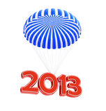 Parachute new year's 2013. Isolated on a white background Stock Photos