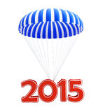 Parachute new year's 2015. Isolated on a white background Royalty Free Stock Photos