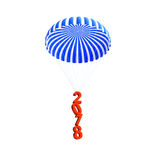 Parachute 2018 new year on a white background 3D illustration, 3D rendering Royalty Free Stock Image