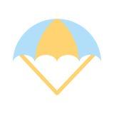 Parachute open isolated icon. Vector illustration design Stock Image
