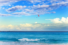 Parachute over the sea. Mexico. Stock Photography