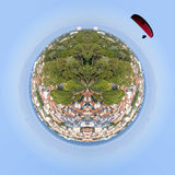 Parachute over a view of Arcachon from a tower in France, near t Royalty Free Stock Image