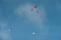 Parachute 2. Parachutist under a dome of colored parachute Stock Image