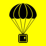 Parachute with the parcel Royalty Free Stock Images
