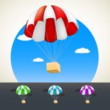 Parachute with sending. Royalty Free Stock Image