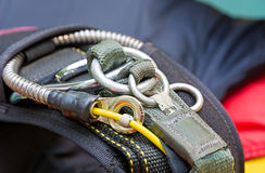 Parachute. Skydiving equipment. Fragment of parachute strap lock-ring. Close-up Royalty Free Stock Photo