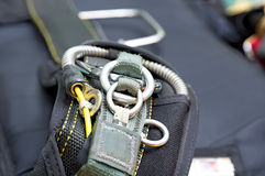 Parachute. Skydiving equipment. Fragment of parachute strap lock-ring. Close-up Royalty Free Stock Photos