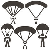 Parachute sport icons Royalty Free Stock Photos