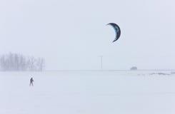 Parachute Surfing in Winter. Saskatchewan Stock Photo