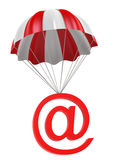 Parachute with @ Symbol. 3D Digitally Generated Image Stock Photography