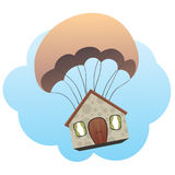 Parachuted House stock photography