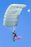 Parachuter with american flag Royalty Free Stock Image