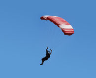 Parachuter in the blue sky. Royalty Free Stock Photos