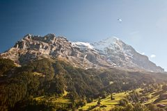 Parachuter over the grindelwald Royalty Free Stock Images