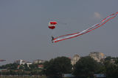 Parachuter. At Red Bull Flugtag,Flying day,Belgrade Serbia,Jun 2013 Royalty Free Stock Photo