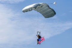 Parachuter with american flag Stock Images