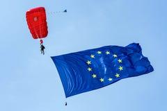 Parachuter with flag of European union Royalty Free Stock Photo