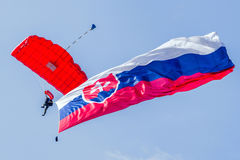 Parachuter with slovak flag Royalty Free Stock Images