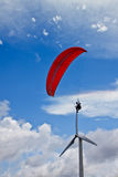 Parachuter with wind generator. With clear blue sky Royalty Free Stock Photos
