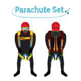 Parachuters设置了-伞包 明亮的极端运动器材 库存照片