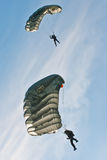 Parachuters performing at Zagreb Air Show 2010. ZAGREB, CROATIA - AUG 29: Croatian police force parachuter performing at Zagreb Air Show 2010  on Aug 29, 2010 in Stock Image