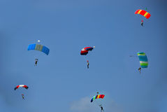 Parachutes. Lots of parachutes in the sky Royalty Free Stock Photography